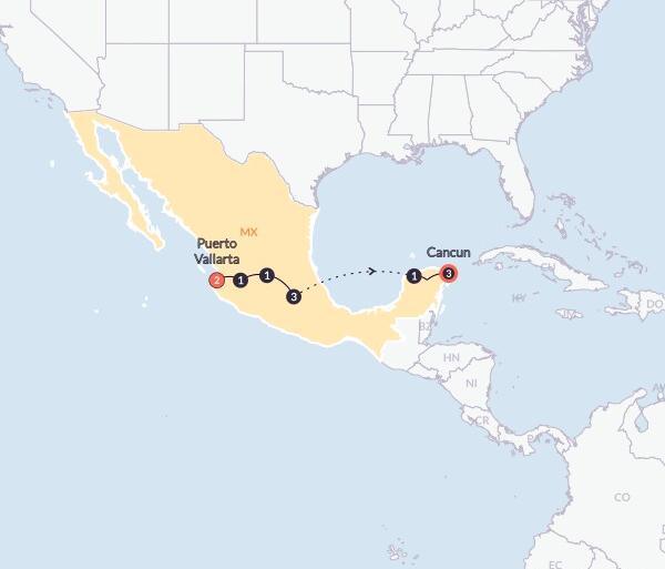 Chichen Itza Guanajuato Mexico Grande(Twin Room,Start Puerto Vallarta, End Cancun) Trip