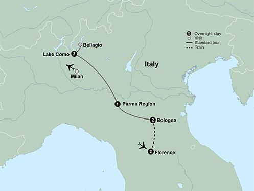 Lake Como Parma Italy's Bella Vita featuring Florence, Bologna and Lake Como Trip