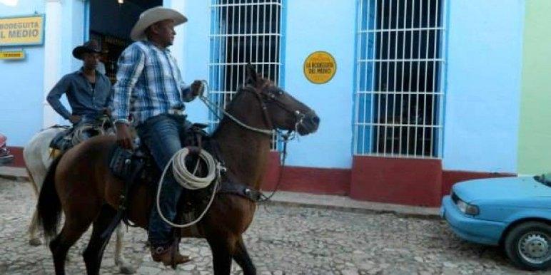 Men on Horseback in Havana, Cuba