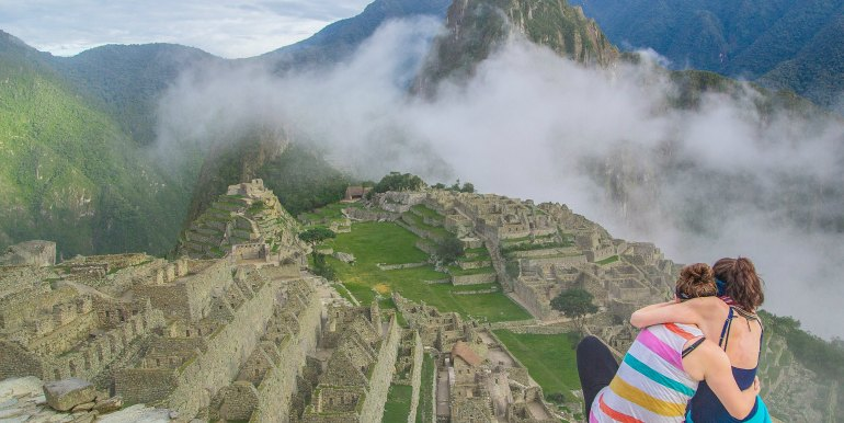 Two friends on a trip to Machu Picchu