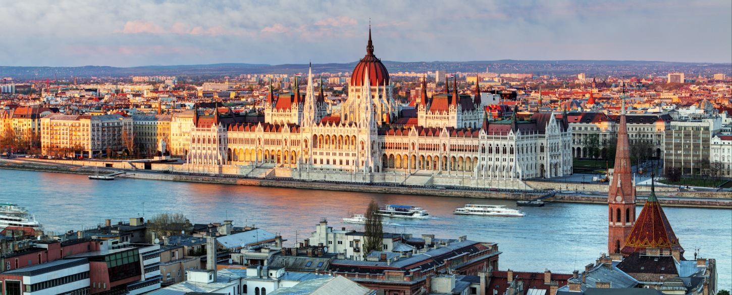 View of Hungarian Parliament from Danube river cruise
