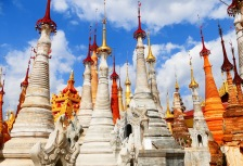 Beautiful tall and white temples on Burma (Myanmar) tour