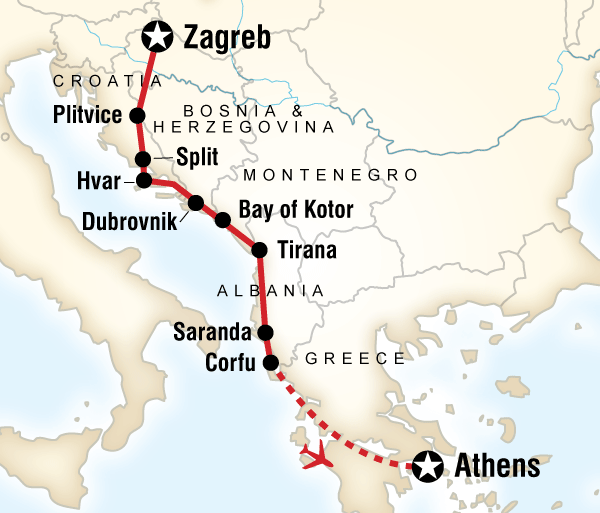 Athens Croatia Adriatic Adventure–Zagreb to Athens Trip