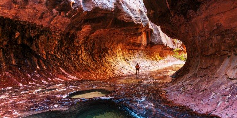 Solo traveler exploring Zion National Park
