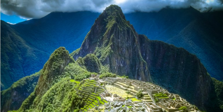 Epic shot of sunlight over Machu Picchu