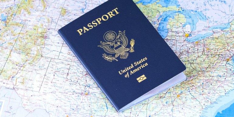 Passport on a world map