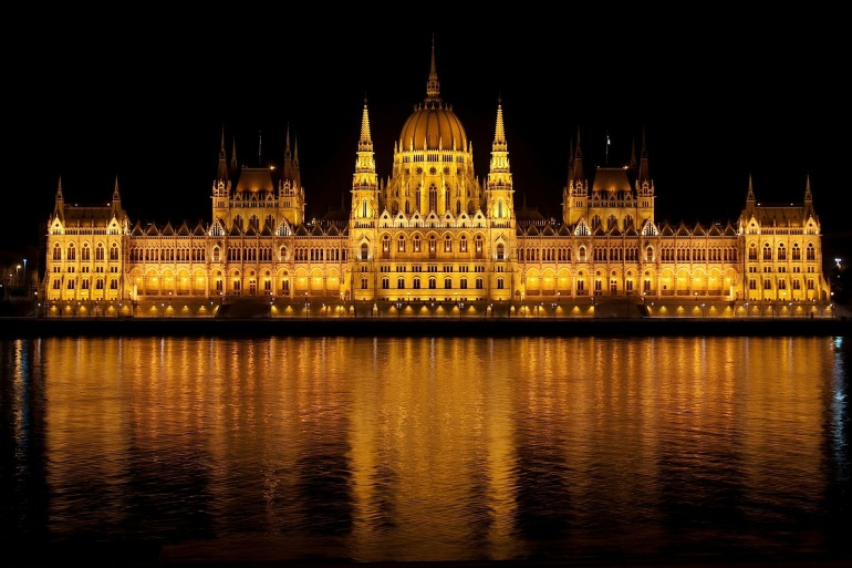 Lights on Hungarian Parliament, Budapest