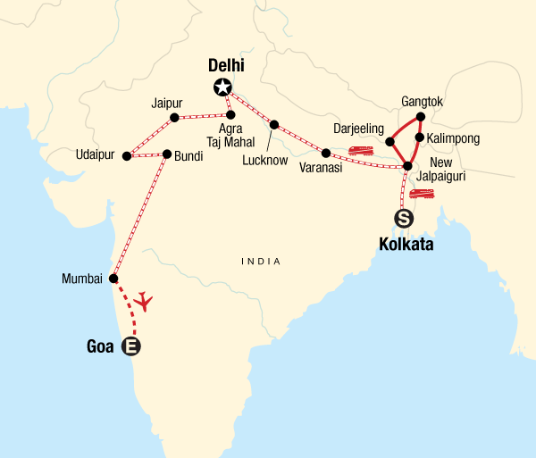 Agra Agra Fort Kolkata to Goa by Rail Trip