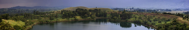Scenic View of Rwenzori Mountain and Lake, Rwanda