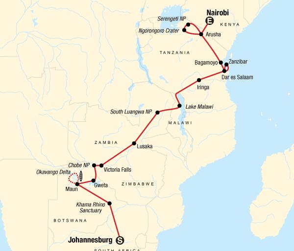 Arusha Gweta Falls, Beaches & Serengeti Adventure (Northbound) Trip