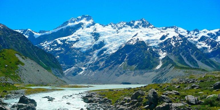 Snowy mountain in New Zealand