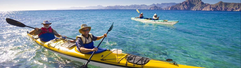 Two men kayaking in the sea