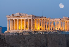 Greek ruins at night on History tour