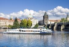 river cruise vessel sailing under bridge in Europe