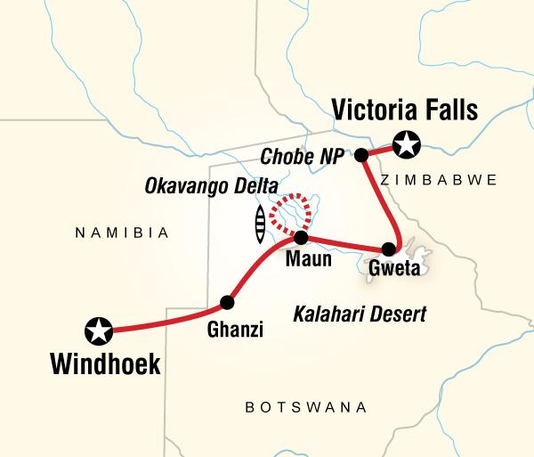 Chobe National Park Gweta Delta & Falls Overland (Westbound) Trip