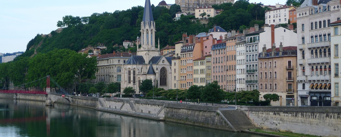 Buildings overlooking the waterfront Lyon, France on Vantage travel tour