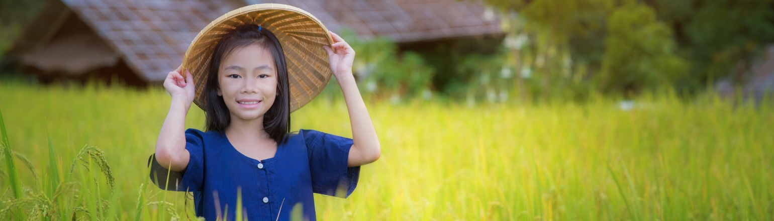 Girl in the terrace rice farm with countryside background on Kensington tour