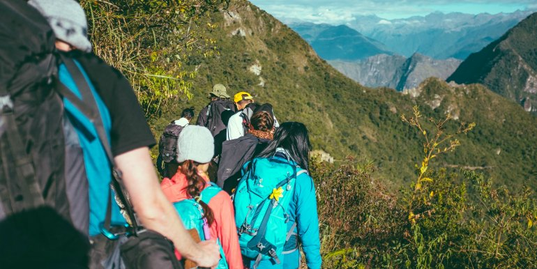 Group of hikers along the Inca Trail