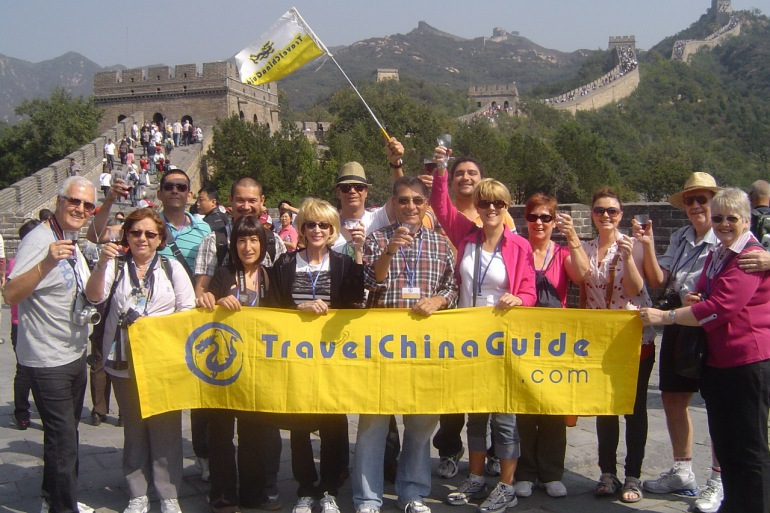 Group of People Visiting Great wall of China