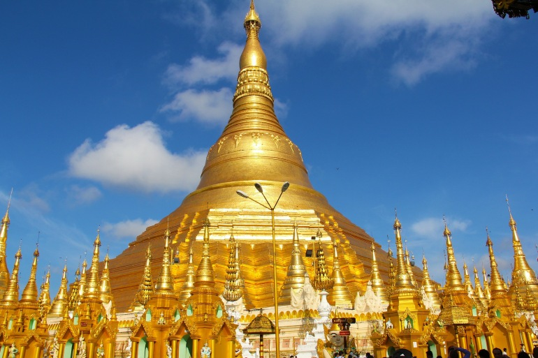 Golden temple view of Yangon, Asia