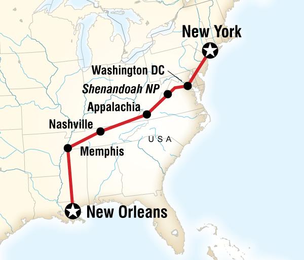 Memphis Nashville Music, Mountains & Monuments Westbound Trip