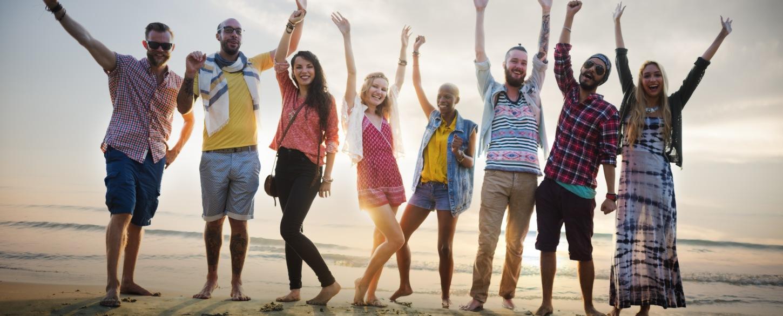 Young travelers 18-30s enjoying fun guided tour in Europe