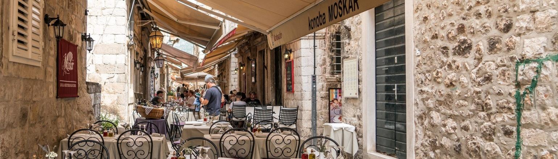 Cafe in Dubrovnik Croatia on Senior trip in Europe