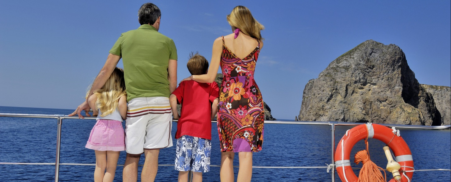 Young family on vacation guided tour