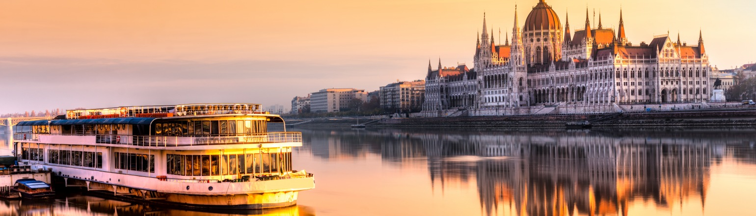 Europe river cruise sunset in Budapest