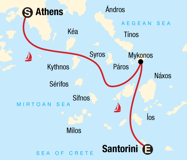 Athens Mykonos Sailing Greece - Athens to Santorini Trip