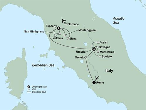 Rome Siena Tuscan & Umbrian Countryside featuring Italy's Charming Hill Towns Trip