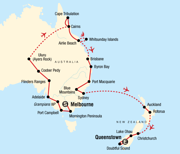 Adelaide Auckland Australia & New Zealand Encompassed Trip