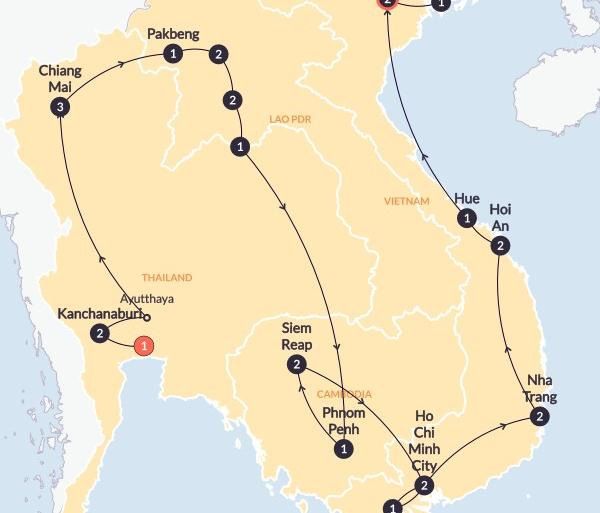 Ayutthaya Bangkok Big Indochina Adventure(Twin Room,Start Bangkok, End Hanoi) Trip