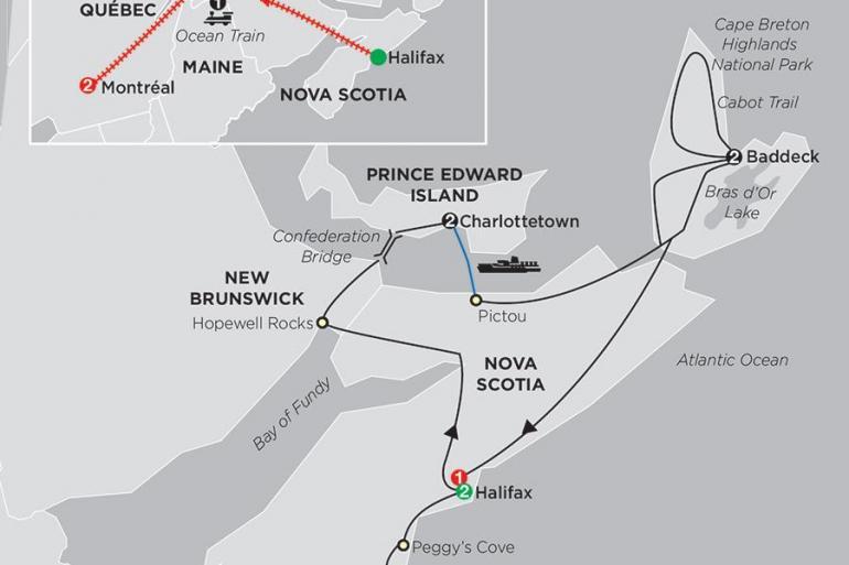 Montreal Nova Scotia Atlantic Canada's Coastal Wonders with Ocean train to Montréal Trip