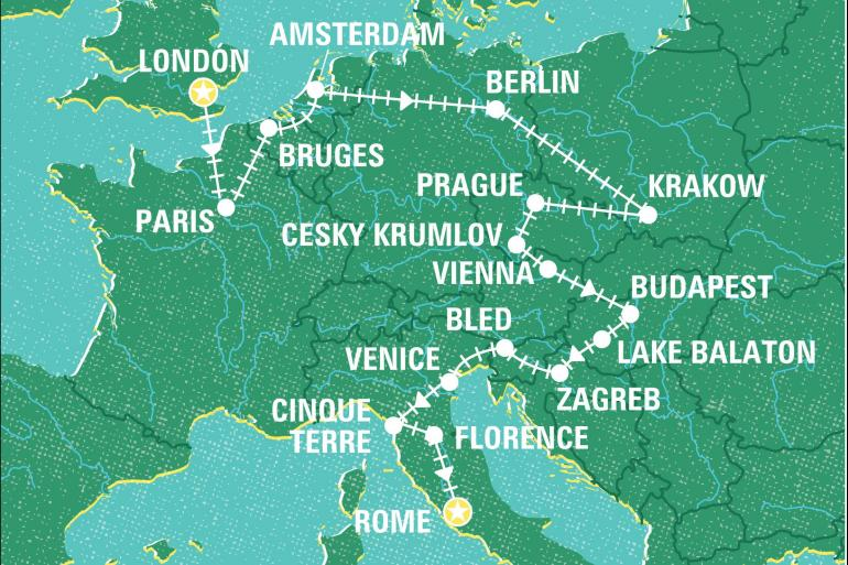 Berlin Bruges London to Rome by Rail Trip