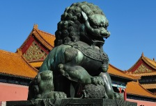 Lion statue on Beijing tour of the National Palace Museum