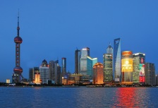 View of the Shanghai skyline at night