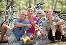 Wine tasting group on 50-Plus Travel tour