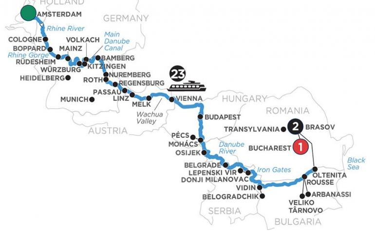 Amsterdam Bamberg Iconic Rivers of Europe with 2 Nights in Transylvania Trip