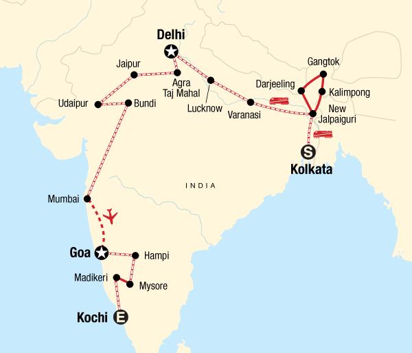 Agra Agra Fort Kolkata to Kochi by Rail Trip
