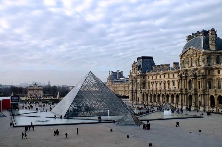 Famous Louvre Pyramid of Paris, France