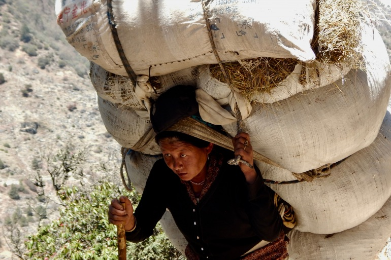 Heavy Load Carried by a Woman, Mount Everest