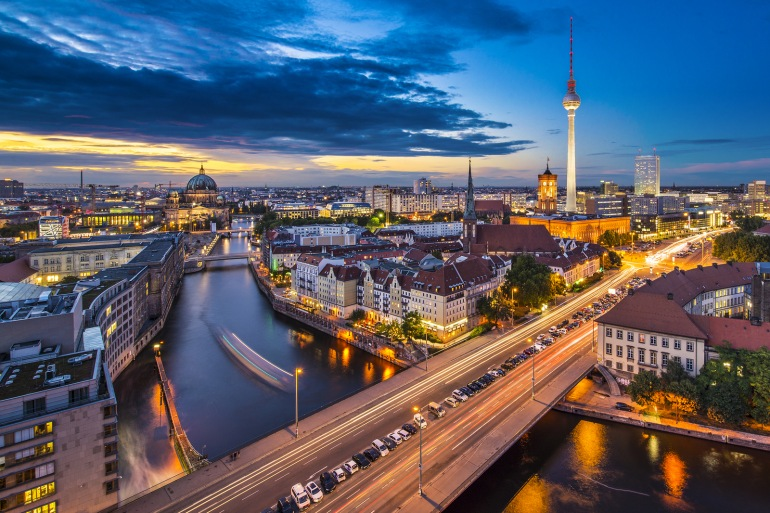 Night view of City Berlin, Germany