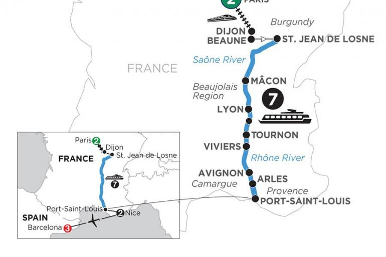 Arles Avignon Burgundy & Provence with 2 Nights in Paris, 2 Nights in Nice & 3 Nights in Barcelona (Southbound) Trip