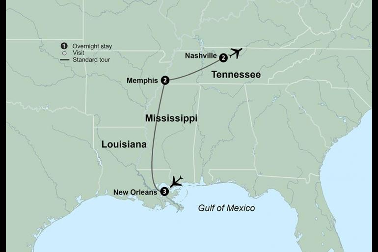 50 plus Historic sightseeing America's Music Cities featuring New Orleans, Memphis & Nashville package