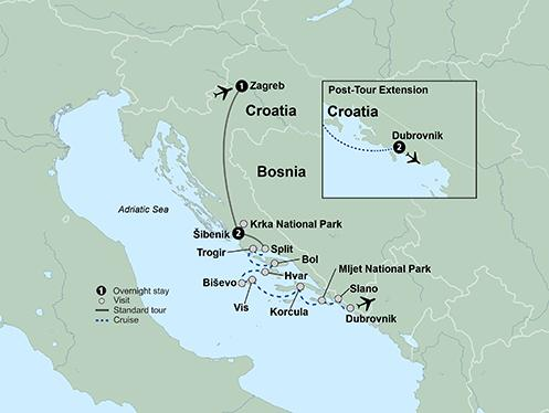 Split Zagreb Croatia & Its Islands Small Ship Cruising on the Adriatic Coast Trip