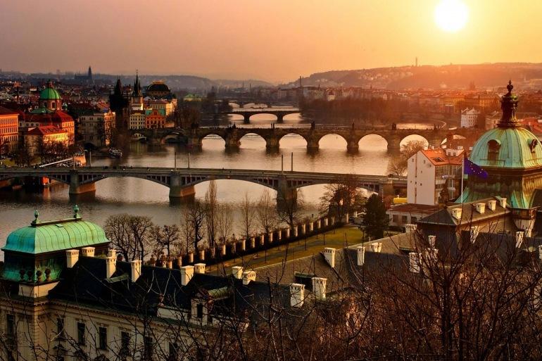 Panaromic view of Prague, Czech