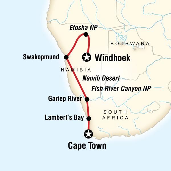 Cape Town Etosha National Park Cape & Dunes Discoverer Trip