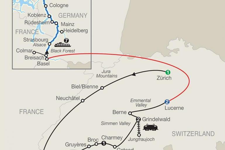 Amsterdam Basel Spectacular Switzerland with Romantic Rhine Trip