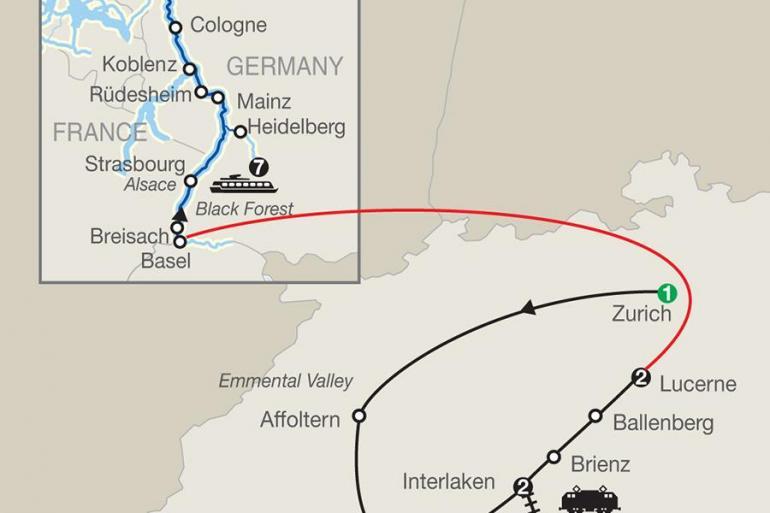 Top of Switzerland with Romantic Rhine tour